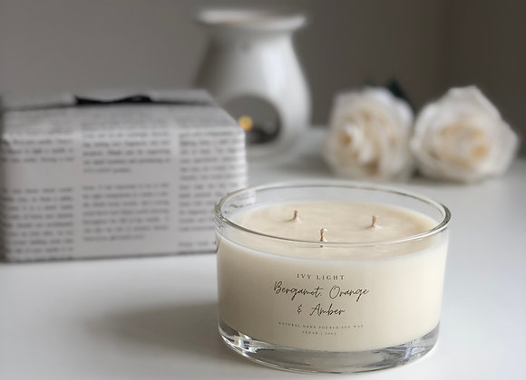 Ivy Light 3 Wick Candle in Bergamot, Orange and Amber