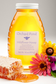 Honey with comb and wildflowers