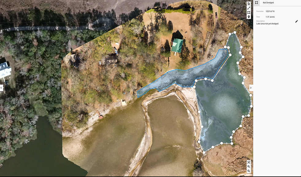Aerial mapping view.  Orthophotoghrapy and volume measurement.