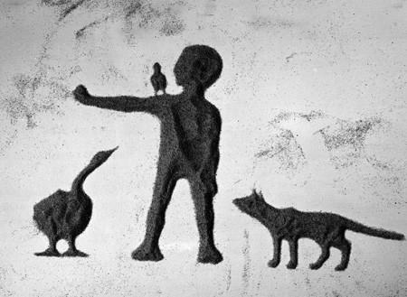 Le premier dessin animé dans la technique d'animation sur sable