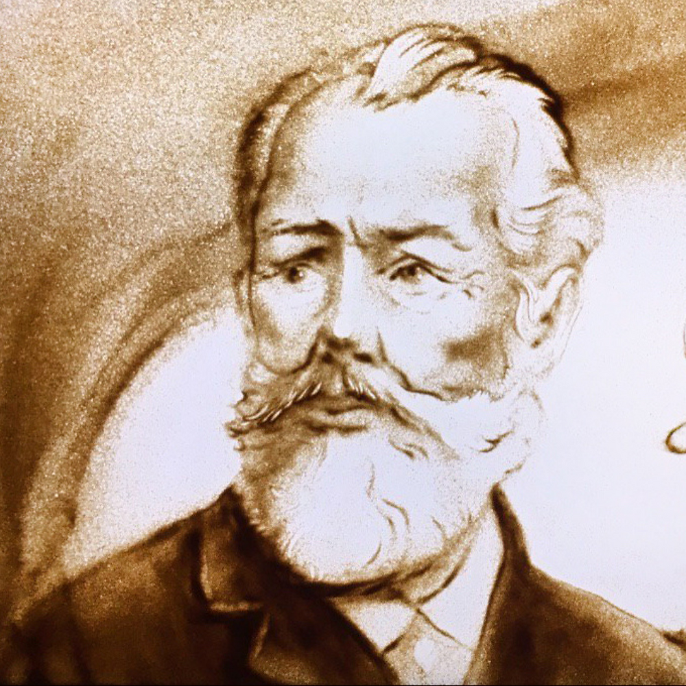 P.I. Tchaïkovski, Portrait, Dessin sur sable - Daria Kotyukh