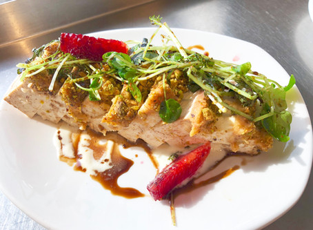 Pistachio Crusted Tofu with Silken Tofu Wasabi Dressing by Chef Anthony Moraes