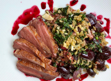 Pan-Roasted Duck Breast with Freekeh Salad and Pomegranate-Cherry Sauce