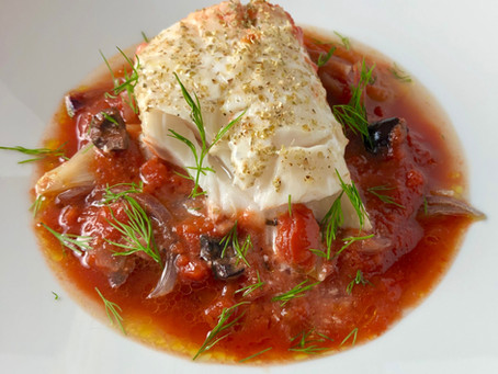 Recipe: One Pan Oven-Roasted Cod with Melted Red Onions and Stewed Tomatoes