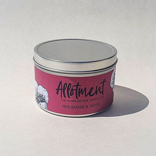 Rhubarb & Rose Candle Tin