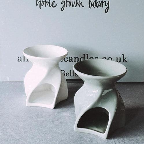 Grey Twisted Geo Ceramic Burner