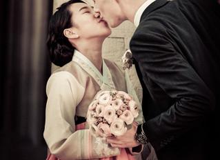 Koreanisch, schweizerische Hochzeit.