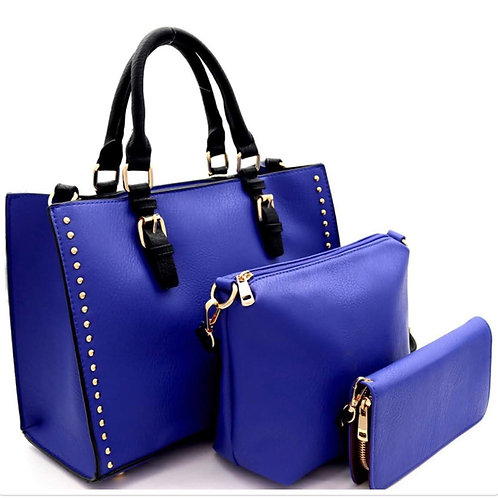 Studded Two-tone 3 In 1 Satchel Wallet Set