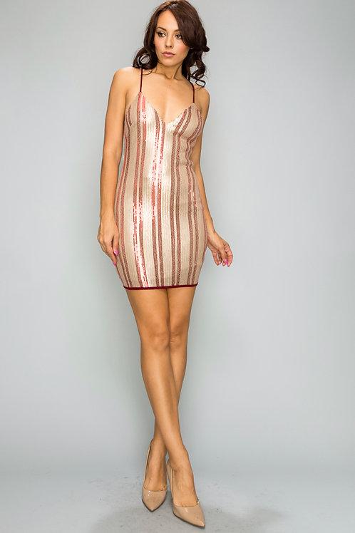 Stripe sequins mini dress
