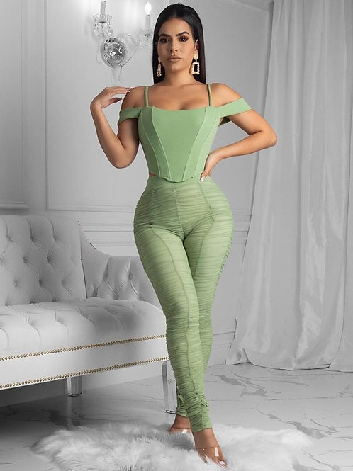 Off Shoulder Pleated Solid Skinny Two Piece Pants Set