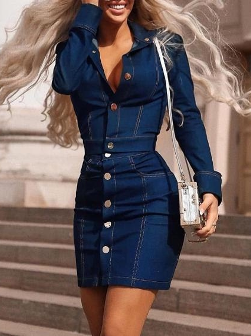 Denim Long Sleeve Buttoned Top & Skirt Sets