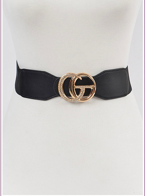 Stoned Metal Buckle Plus Size Elastic Belt