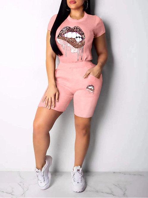 Lip Print Round Neck Pocket Top & Shorts Set