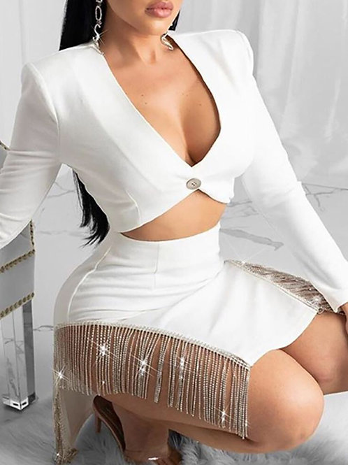 Top & Studded Tassel Design Slit Skirt Set