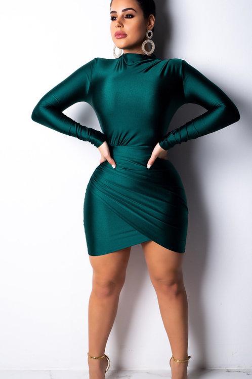 Long Sleeve Ruched Overlap Hem Dress