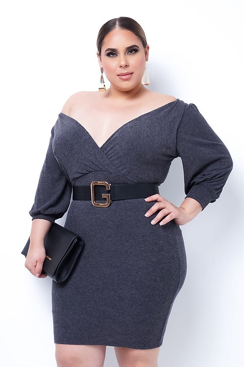 Plus Size Genevieve Mini Dress - Gray