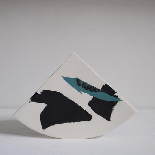 Summit Shape Vase in Jade Green and Black