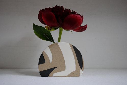 Sunrise Vase in Black, White and Speckled Stoneware