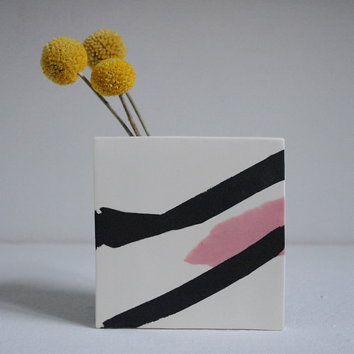 Shape Vase in Black, White and Pink