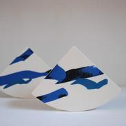 Geometric Vase in Cobalt Blue, Teal and Black