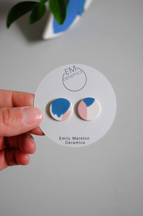 Porcelain Stud Earrings in White, Teal and Pink