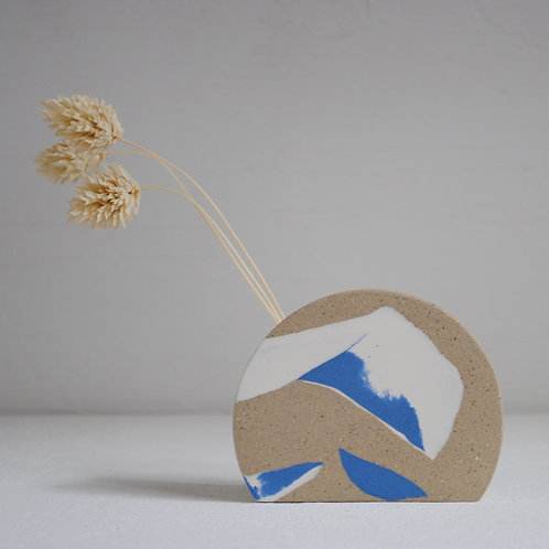 Small Sunrise Stem Holder, Blue and White with Speckled Stoneware