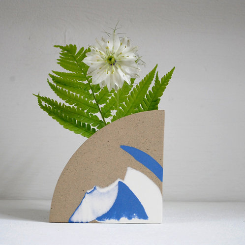 Arc Vase in Blue, White and Speckled Stoneware