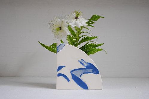 Arc Shape Vase in Cobalt Blue and White