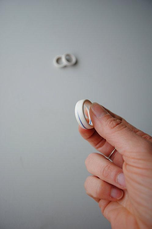 Wide Porcelain Ring, Blue Pink - U 1/2