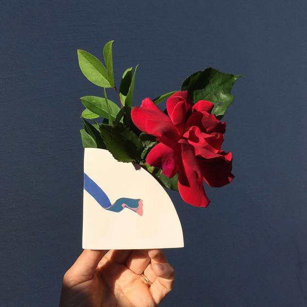 Shape Vase with red rose