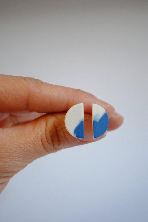 Porcelain Half Moon Earrings, Cobalt Blue and White