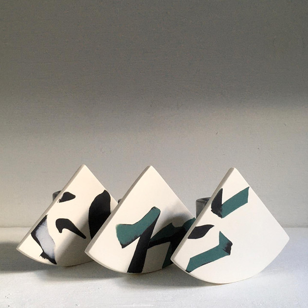 Three Summit Shape Vases with Black and Green Coloured Clay Inlay