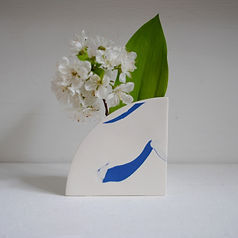Blue and White Pottery Vase for fresh and dried flowers.