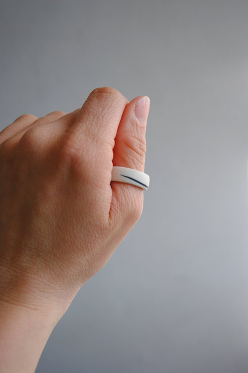 Wide Porcelain Ring, Black and White