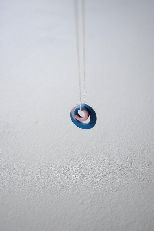 Orbit Necklace, Teal and Pink