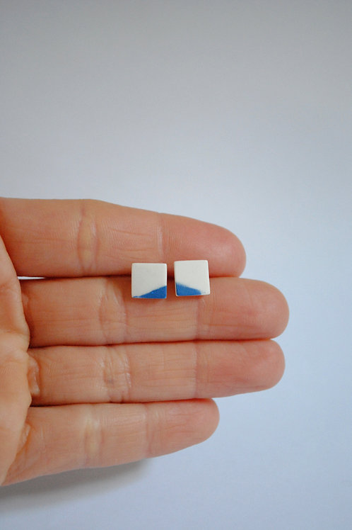 Small Square Earrings, Cobalt Blue and White