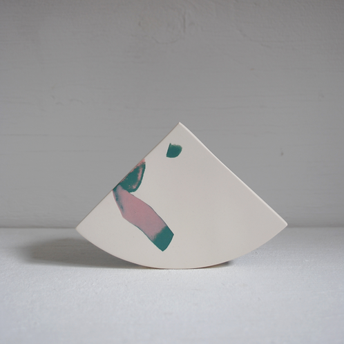 Second - Shape Vase in Green and Soft Pink