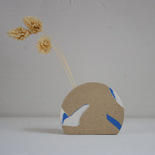 Second - Mini Sunrise Stem Holder, Blue and White with Speckled Stoneware