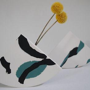 Shape Vase, Black and Green