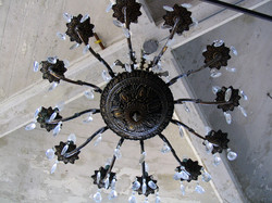 Cement Ceiling with Chandelier