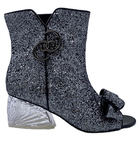 Glitter Ankle Bootie w/ transparent Shell Heel
