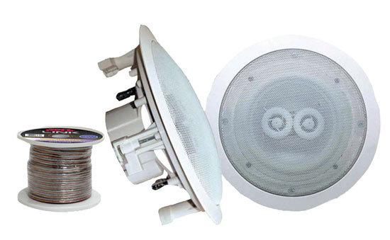 Pair of 8'' In-Ceiling (Dual Channel) WeatherProof Speakers+100' Speaker Wire