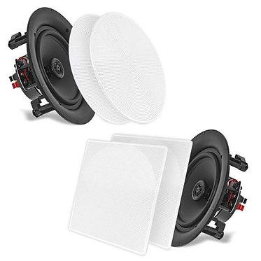 """5.25"""" In-Wall / In-Ceiling Dual Speakers, 150 Watt, 2-Way, Flush Mount, White"""
