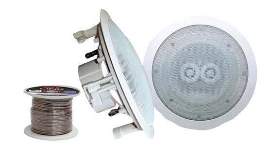 Pair of 5.25'' In-Ceiling (Dual Channel) WeatherProof Speakers+100' Speaker Wire