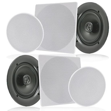 "6.5"" In-Wall / In-Ceiling Speakers, 2-Way Flush Mount Home Speaker Pair, 200W"