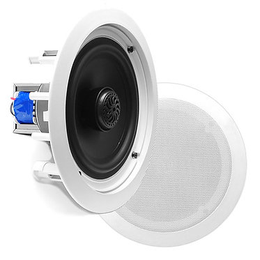 "In-Wall / In-Ceiling Dual 6.5"" Speaker, 70V Transformer, 2-Way, Flush Mnt, Wht"