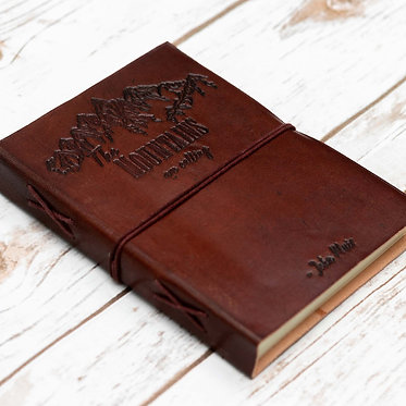 """""""The Mountains Are Calling"""" Handmade Leather Journal"""