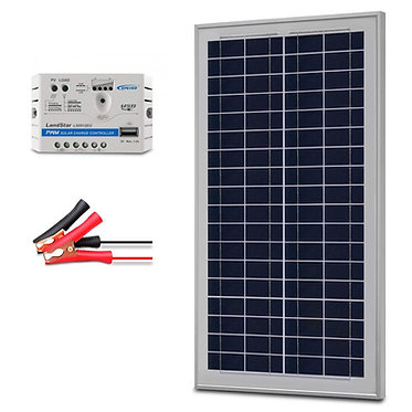 ACOPOWER 35W 12V Solar Charger Kit, 5A Charge Controller With Alligator Clips