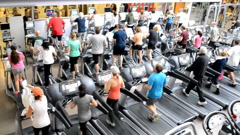 Busy fitness center