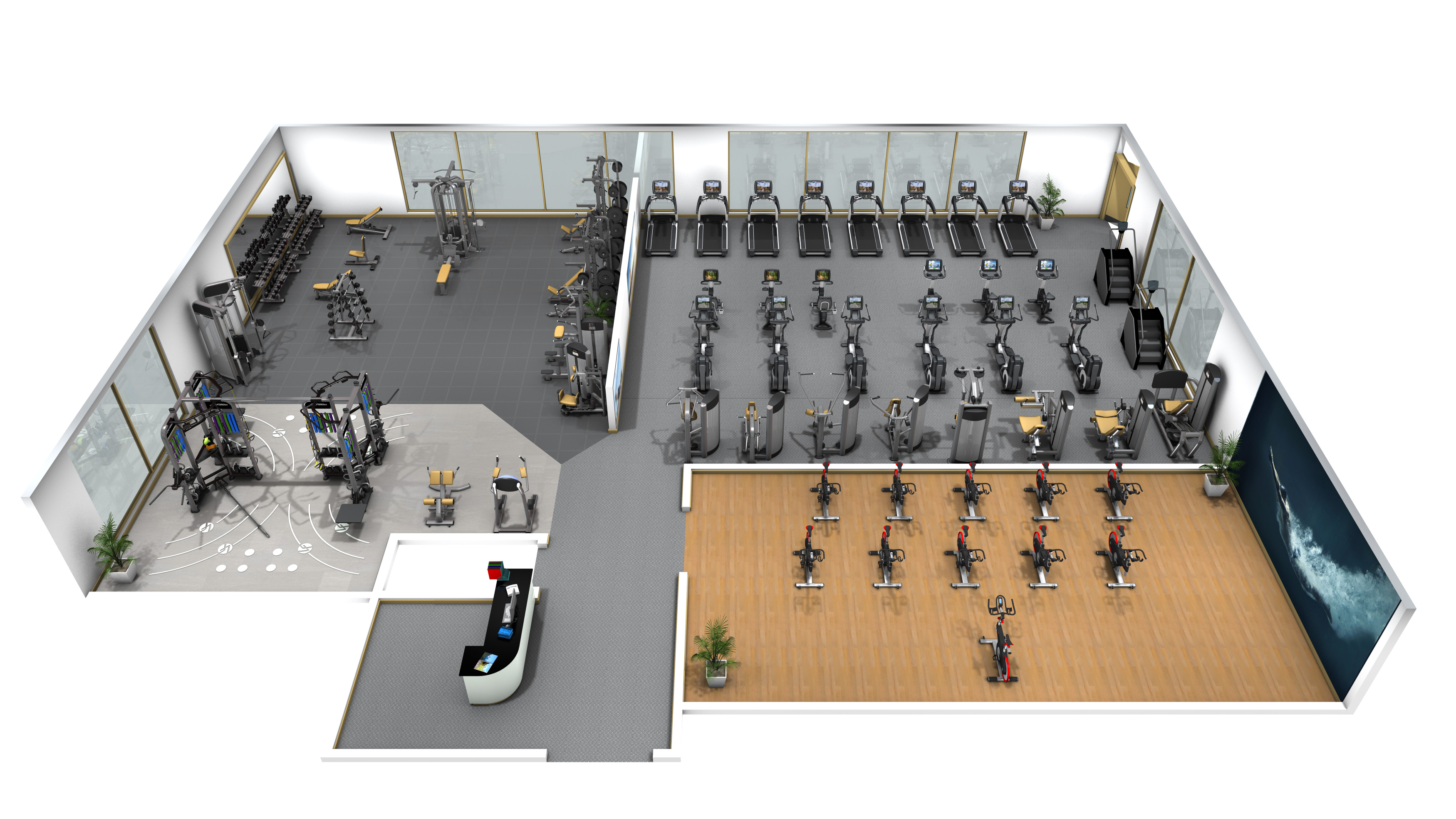 Master plan for fitness center design private club for 3000 sq ft gym layout